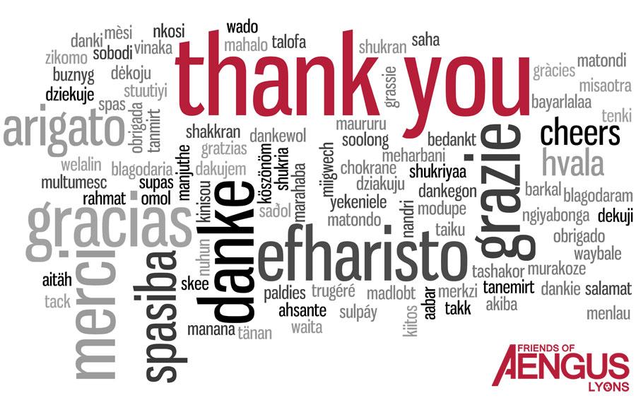 Aengus says Thank You
